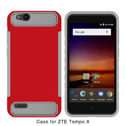 Wholesale Orange Texture - Hybrid Armor Case For ZTE Blade Zmax Pro 2 Z982 Metropcs ZTE Tempo x N9137 boost Carbon Fiber Texture TPU+PC Back Cover B