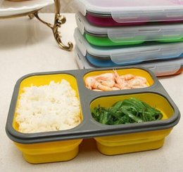 Wholesale Large Plastic Folding Storage Boxes - 1100ml Silicone Collapsible Portable Food Storage Container Large Capacity Bowl Lunch Bento Box Folding Lunchbox Eco-Friendly