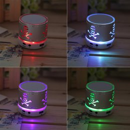 Wholesale Tf Card Boombox - Universal Mini Bluetooth Skull Pattern Speaker Wireless LED Light TF Card Stereo Music Boombox Speaker For Cell Phone Tablet PC