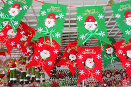 Wholesale Wholesale Supply Showcase - Merry Christmas 6pcs lot Santa Claus Snowman Hanging Ornaments Flags Window Showcase Outdoor Decoration Banner For Home Party Supplies SD38