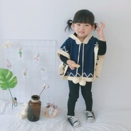 Wholesale Kids Girl Wool Sweater - Baby girls sweater cloak autumn kids cute pompon hooded knitting shawl girls wave princess poncho tops fashion kid capes R0303