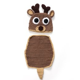 Baby Crochet Cute Deer Horn hat 2pc set baseball hat 2pc set Costume  handmade clothes for Newborns photo props festivals Christmas gift 347b8b056867
