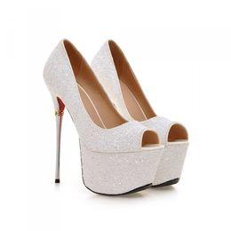 Wholesale Shoes High Platform Sequin - 2016 Sequins Ladies Sexy High Heels Platform Shoes Plus Size 32-43 Size Wedding Dress Shoes 16CM Sexy Peep Toe Nightclub Party Shoes