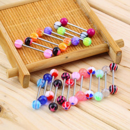 Wholesale Assorted Piercing Rings - 2016 Hot 20pcs set Sexy jewelry Colorful Assorted Ball Tongue Nipple Bar Ring Barbell Piercing Tongue Body Jewelry