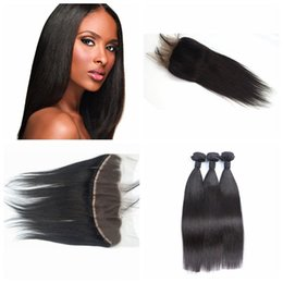 Wholesale Malaysain Hair - 13x4 Lace Frontal With Bundles Malaysain Human Hair Lace Frontal Closure With straight Bundles Can be Dyed and Bleached natural black G-EASY