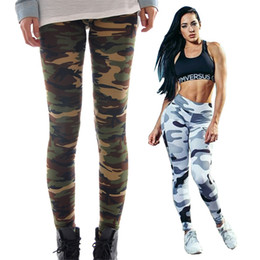 Wholesale Woman Fashion Camouflage Pants - Sport Fans High Elastic Slimt Fit Camouflage Pants Digital Full Print Leisure Capris Sex Slim Fit Trousers PWDK22 WR