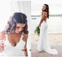 Wholesale Open Back Wedding - 2018 Bohemian Beach Lace Wedding Dresses Novia Sexy Mermaid Spaghetti Straps Backless Open Back Bridal Gowns