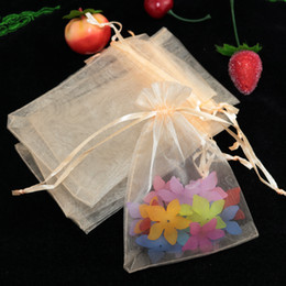 """Wholesale Champagne Wedding Jewelry - Champagne Organza Drawstring Pouches Jewelry Party Small Wedding Favor Gift Bags Packaging Gift candy Wrap Square 5cm X7cm 2"""" X2.75"""" 100pcs"""