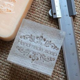 organic glasses Promo Codes - Wholesale-2016 free shipping natural handmade acrylic soap seal stamp mold chapter minidiy handmade soap patterns organic glass 4X4cm 0079