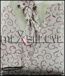 Wholesale Tuxedo Ascot Tie - Wholesale-Men's Dress Tuxedo fashion swirl Vest ascot tie 4pcs