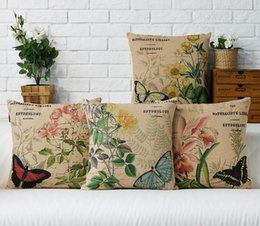 Wholesale Decorative Butterfly Pillows - Free shipping novelty gift retro butterfly flower leaf plant pattern linen cushion cover home car bar cafe decorative throw pillow Case