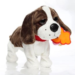 Wholesale Stuffed Animal Heads - Wholesale-Electric Pets Plush Toy Stuffed Doll Cute Big Head Animal Model Baby Kids Voice Sensative Toy 2017 Hot Birthday Gifts