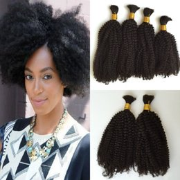 "Wholesale Real Human Hair Bulk - HOT sale! Malaysian Hair 100% The Real Human Hair Bulk,Natural Color Afro Kinky Bulk Hair Extensions 10""-30"""
