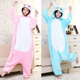 Wholesale Animal Pajamas For Adults - Large Stereoscopic rabbit onesies for Adults Flannel Anime Pajama Cartoon Unisex Animal Pajamas for Women One Piece Suits