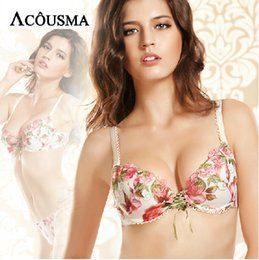 Wholesale Thong Bra Sets For Women - Wholesale-2016 New Brand Floral Print Bra & Brief Sets Bottom Underwear,Sexy Women Intimates Push Up Bra and Thong Set For Women BS221