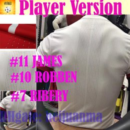 Wholesale Soccer Player Jersey - Player Version #11 JAMES #10 ROBBEN Soccer Jersey 2018 Muller Ribery home red away white football jersey 17 18 LEWANDOWSKI Soccer shirts