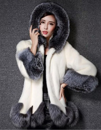 Wholesale Ladies Mink Jackets - Luxury Women Faux Fur Hooded Coat Fashion Winter Ladies Imitation Mink Outerwear Jacket warm clothing white black