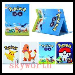 Wholesale Pikachu Mix - Cute Cartoon Poke Go Pikachu Wallet flip leather Case TPU Cover Card Slot Stand for ipad air mini 2 3 4 5 6
