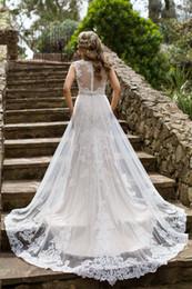 Wholesale Simple Lace Sheath Wedding Dress - On-Sale! 2016 Wedding Dress With Tulle Sheath Jewel Neck Chapel Train Lace Appliques Beaded Sash Wedding Dresses Bridal Gowns #DL10182