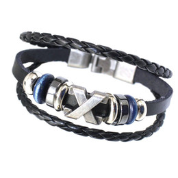 Wholesale Sterling Silver Evil Eye Charms - Fashion Mens Leather Cuff Bracelet Vintage Gold Silver Evil Eye Anchor Charm Braided Rope Beaded Multilayer Genuine Leather Bracelets