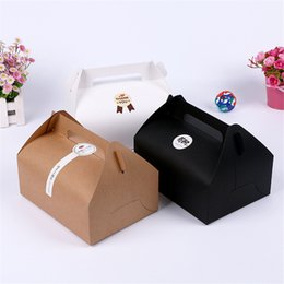 Wholesale wedding box big size - big size 20*15*8cm Boutique Cake Food Kraft Paper Box With Handle Wedding Party Favor Candy Gifts Packaging Boxes Supplie LZ0750