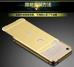 Wholesale Gold Plated S4 - plate Mirror Gold Aluminum Case For Samsung Galaxy S5 S4 S3Luxury Metal Frame Ultra Slim Acrylic Back Cover aluminium metal bumper
