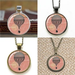 Wholesale Christmas Hot Air Balloon - 10pcs Hot Air Balloon Vintage Style Jewelry Air Balloon Pendant Necklace keyring bookmark cufflink earring bracelet