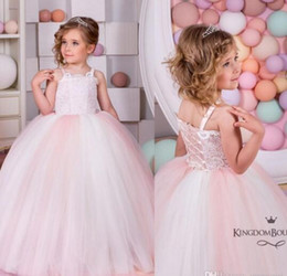 Wholesale Ombre Ball Dress - Bow Gown Ombre Pink Flower Girls' Dresses For Weddings Sleeveless Spaghetti Neck Lace Girls Formal Wear Floor Length Cheap Communion Gowns