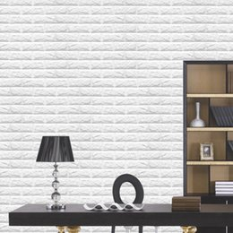 Wholesale Brick Decal - Wholesale- 60x60cm Brick pattern 3D Textured PE Foam Wallpaper Wall Paper Home Decor DIY Decal