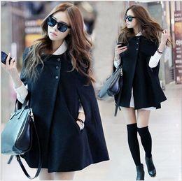 Wholesale Mandarin Types - Wholesale- Korean version new 2016 winter bat type loose big yards fat MM cape shawl woolen jacket coat free shipping