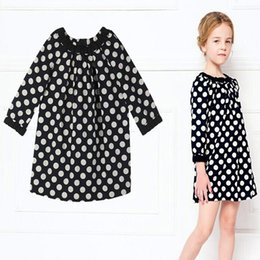 Wholesale Sleeved Knee Length Dresses - children clothing 2016 fashion baby girl casual dress spring dot girls dress kids dress long-sleeved children dresses clothing