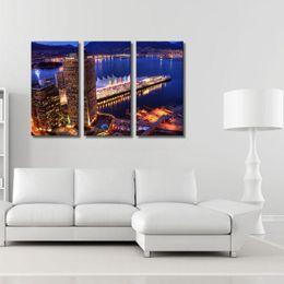 3 Photo Combinaison Art Mur Ville Nuit Impression Sur Toile Peinture À L'huile Art Moderne Décoration Abstraite Sur Toile Bâtiments Lac ? partir de fabricateur