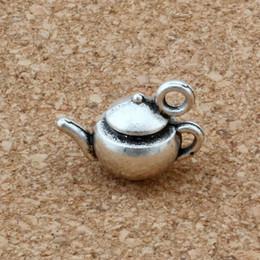 Wholesale tea charms wholesale - MIC 100pcs Antique Silver Zinc Alloy 3D tea pot Charms Pendant 17.5x13mm DIY Jewelry