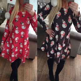 Wholesale Red Mini Dress Womens - Christmas Dress for Womens Blouses Tops Skirts for Women Tops for Women Print Snowman Chiffon Mini Dresses Women Shorts Clothing Wholesale