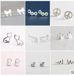 Wholesale Cheap Wholesale Stud Earrings - S 925 silver allergy free studs cartoon animal snow rabbit love crown stud earrings cheap studs many styles can choose