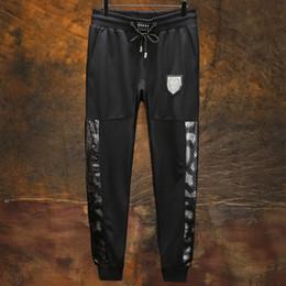 Wholesale Leather Joggers Pants - New arrived hip hop pants for men sport joggers trousers mens Leather clothes men's full nine skull clothing plus size M-6XL