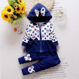 Wholesale Korean Newborn Clothes - 2016 Newest Spring Baby Girls Minnie Suits Korean Casual Kids Cotton Hooded Coat+Pants 2 Pcs Suits Infant Newborn Clothes Suits