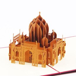 Wholesale valentines day cards new - New 3D Handmade Greeting Cards Valentines Day Cards Business Custom Available Vintage Taj Mahal 3D POP Up