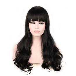Wholesale Long Curly Hair Bangs - Woman curly long hair women synthetic wigs with bangs dark brown auburn burgundy black wig 60cm heat resistant