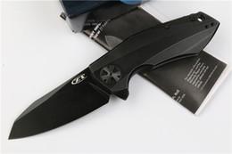 2019 cuchillo plegable de acero real 2017 más nuevo de gama alta ZT0456 Flippe Knife 100% Real D2 acero 60HRC negro de titanio hoja cojinete de bolas EDC Pocket plegable cuchillo cuchillo plegable de acero real baratos