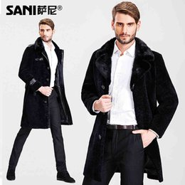 Wholesale Leather Jackets Mink Collar - Fall-Men's Fashion Genuine Sheepskin Leather overcoat Male Natural Leather Jacket real fur coat with mink fur collar free shipping