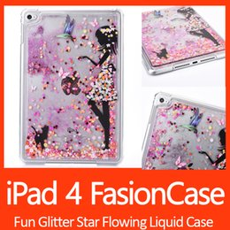 Wholesale Girls Ipad Covers - Fun Glitter Star Flowing Liquid Case For iPad 4 Little Girl Transparent Clear Golden Covers Hard Plastic Cell Phone Cases DHL Free shipping