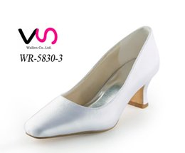 Wholesale Yellow Kitten Heels Wedding - 2016 Simple Style Plain Shoe Dyeable Bridal Shoes Wedding Dress Shoes Handmade Shoes for Wedding From Size35-Size 42 Free Shipping