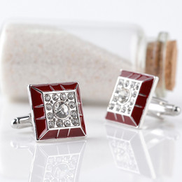 Wholesale dress shirts cufflinks - Luxury Crystal diamond red square Cufflink Cuff Links sleeve button women men shirts dress suit Cufflinks Christmas jewelry 170598