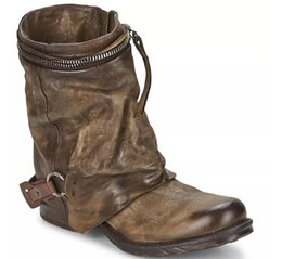 Wholesale Vintage Work Boots - Genuine Leather Vintage Winter Women Ankle Boots Fashion Outdoor Motorcycle Boots Short Booties European Woman Riding Boots