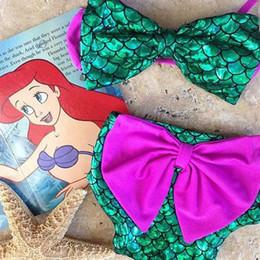 Wholesale Cartoon Girl Swimming - Children Girls Mermaid Swimwear Bow top+bow Swimming pants 2pcs set cartoon Mermaid Bikini Kids Swimsuit A001