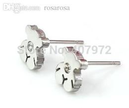 Wholesale Stainless Steel Earrings Color - Wholesale-classic women earrings hollow stainless steel little bear earring te799 steel color