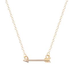 Wholesale Tiny Gold Pendants - 10pcs lot Arrow Necklace Women 2015 Tiny Green arrow Necklace For women Collier Femme Green arrow Jewelry