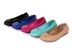 Wholesale Dancing Shoes Woman - Enamel Metal Buckle Flat Heel Ballet Flats Candy Color Slip On Dance Flats Women Sheepskin Genuine Leather Shoes Sz 35-41