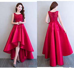 Wholesale Yellow Girls Party Dress Pattern - Burgundy High Low Cocktail Party Dresses 2018 Applique Satin Formal Evening For 16 Sweet Girls Skirt Cheap Prom Gowns
